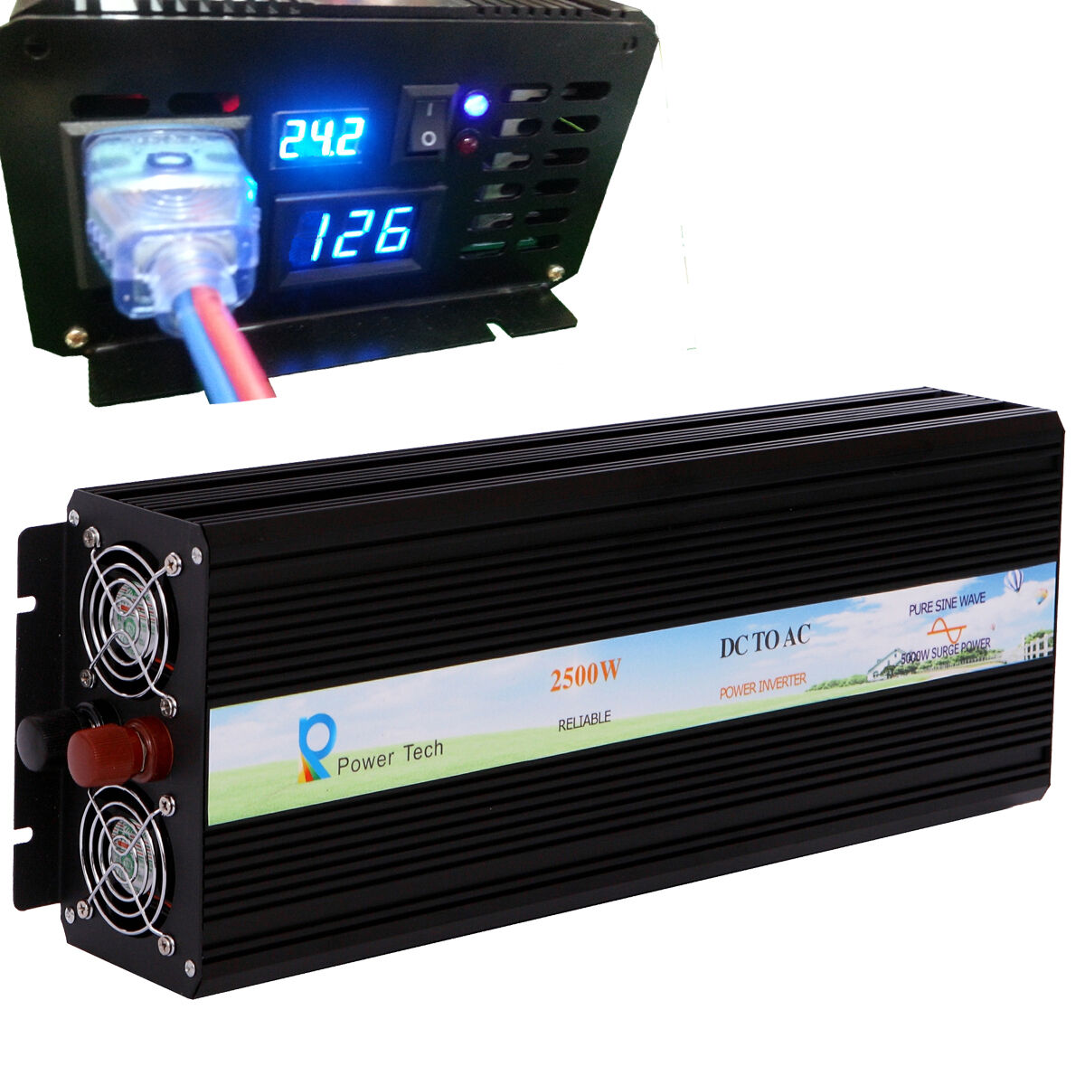 2500w Power Inverter 24v To 120v Pure Sine Wave Off Grid 300 Watts Pwm Controlled Circuit With Output Led Display 1 Of 9free Shipping See More