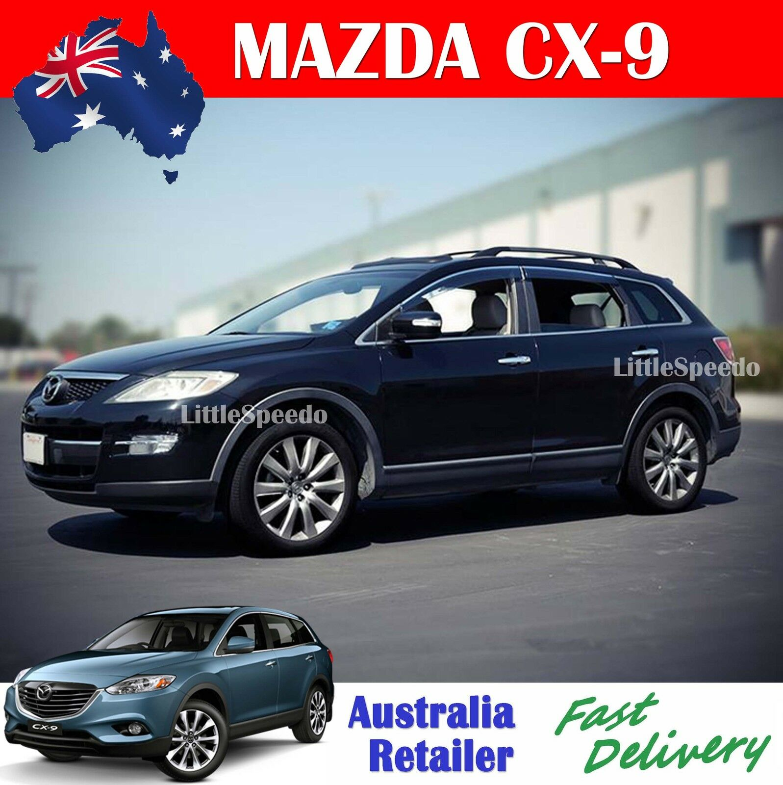 premium injection molded mazda cx9 weather shields weathershields window visor. Black Bedroom Furniture Sets. Home Design Ideas