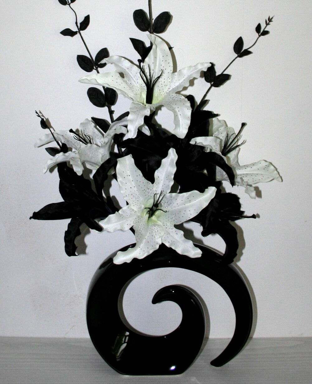 Artificial flowers large black white lily silk flower arrangement artificial flowers large black white lily silk flower arrangement in vase 1 of 2only 0 available see more mightylinksfo