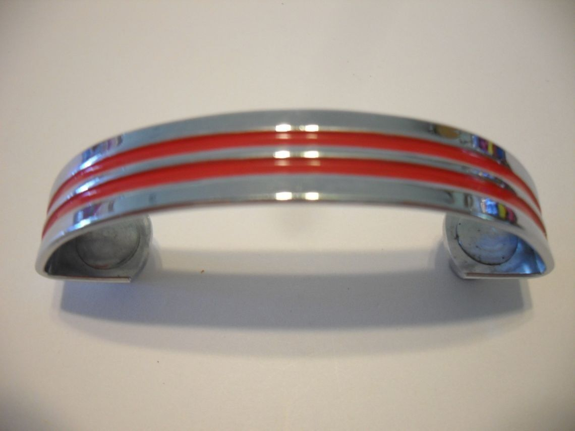 Vintage 50s Chrome Drawer Pulls Cabinet Door Handles RED Lines Grooves Art Deco