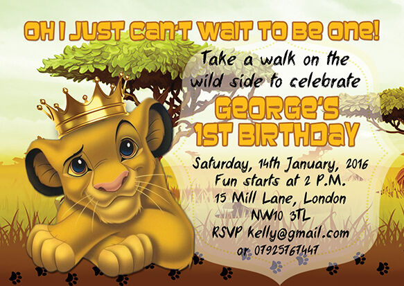 10 X Personalised Kids Birthday Invitationsthank You Cards The Lion