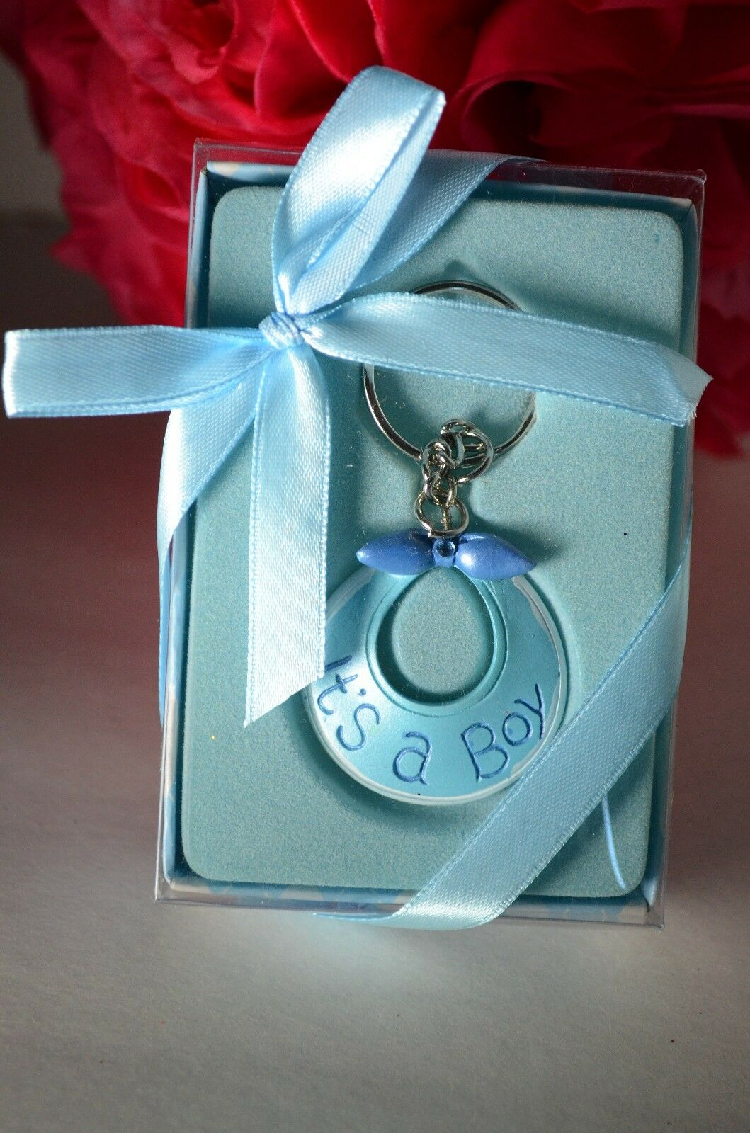 12 Pcs Baby Shower Party Favors Keychains Its A Boy Blue Bib