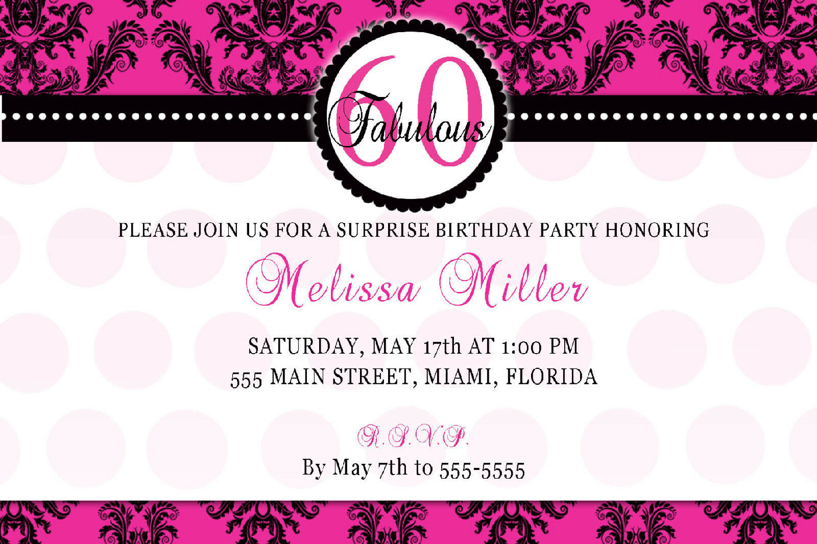 30 INVITATION Cards Adult 60th Birthday Party Invites Any Age ...