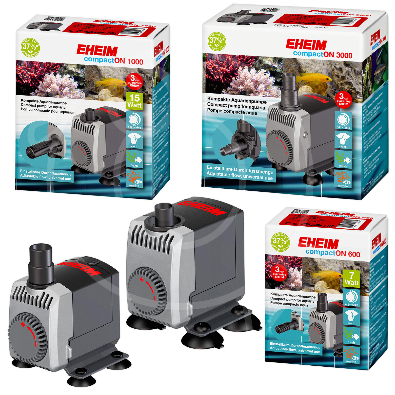 EHEIM compactON POWER HEAD FISH TANK WATER FLOW PUMP 300,600,1000,2100,3000,5000
