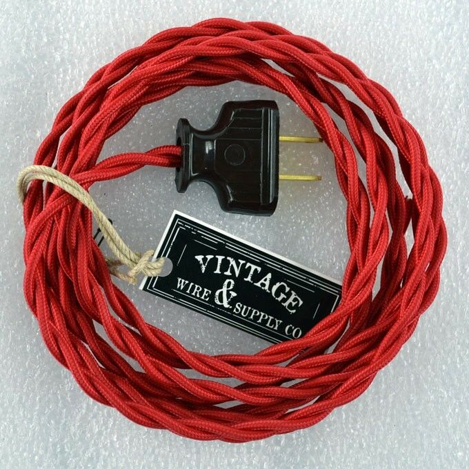 red cloth cover twisted wire vintage rewire kit lamp cord fan antique restore. Black Bedroom Furniture Sets. Home Design Ideas