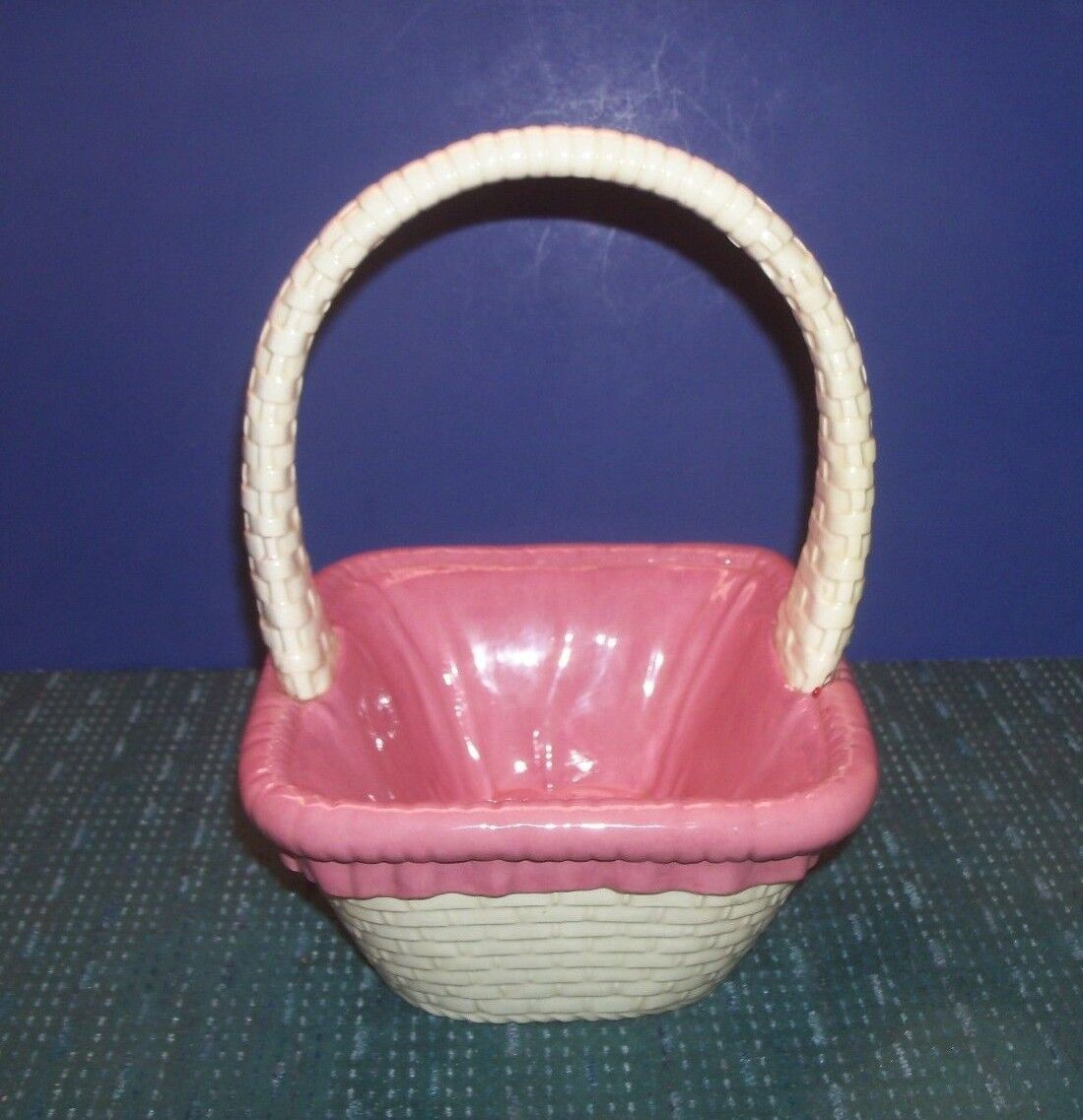 Pink And White Ceramic Basket Great Centerpiece Filled