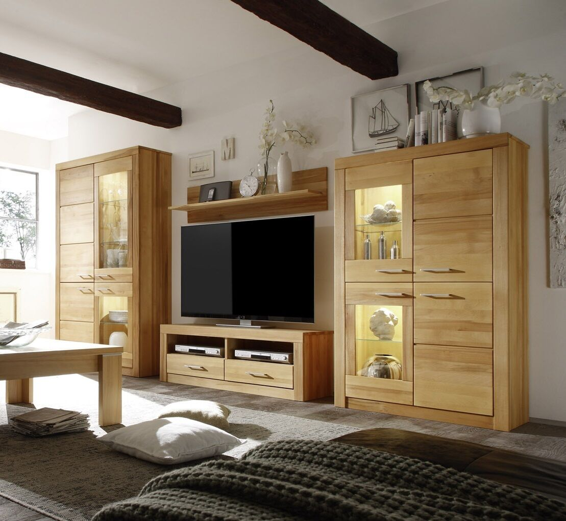 wohnwand anbauwand wohnzimmerschrank kernbuche massiv bergen tv kombi vitrine eur. Black Bedroom Furniture Sets. Home Design Ideas