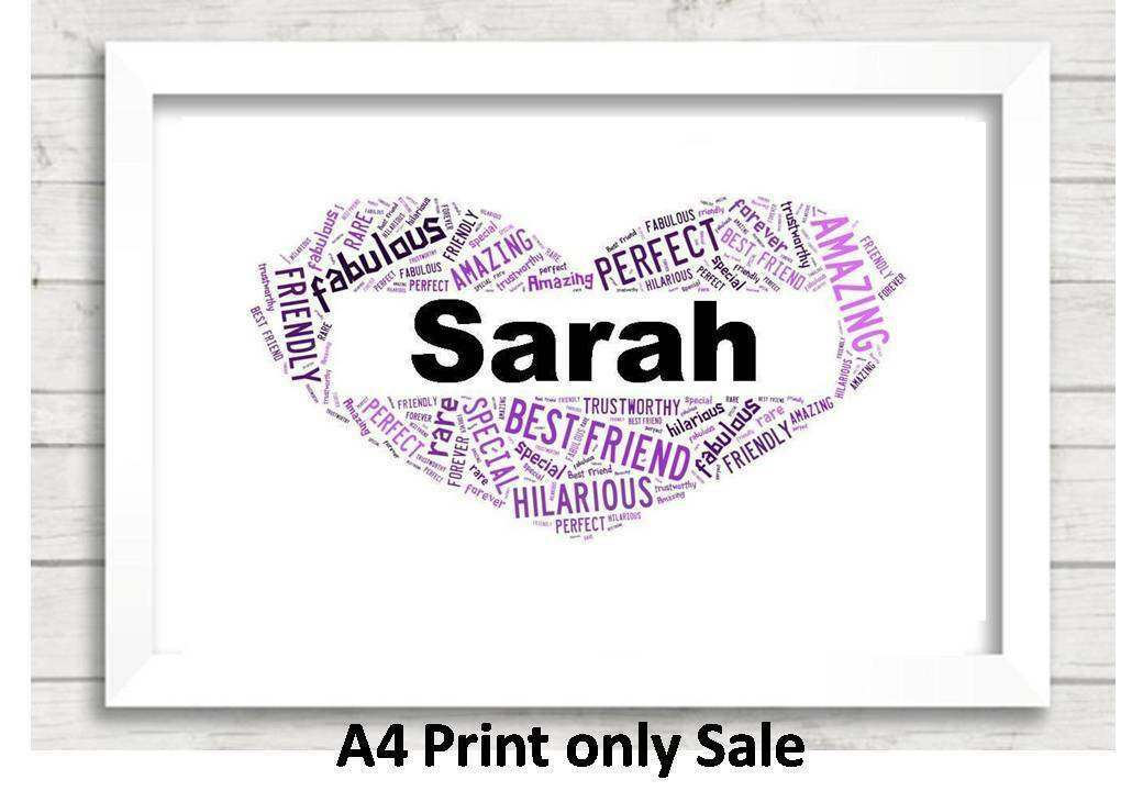 Personalised Best Friend Word Art Gift Special Birthday Present Her Friends 1 Of 2FREE Shipping