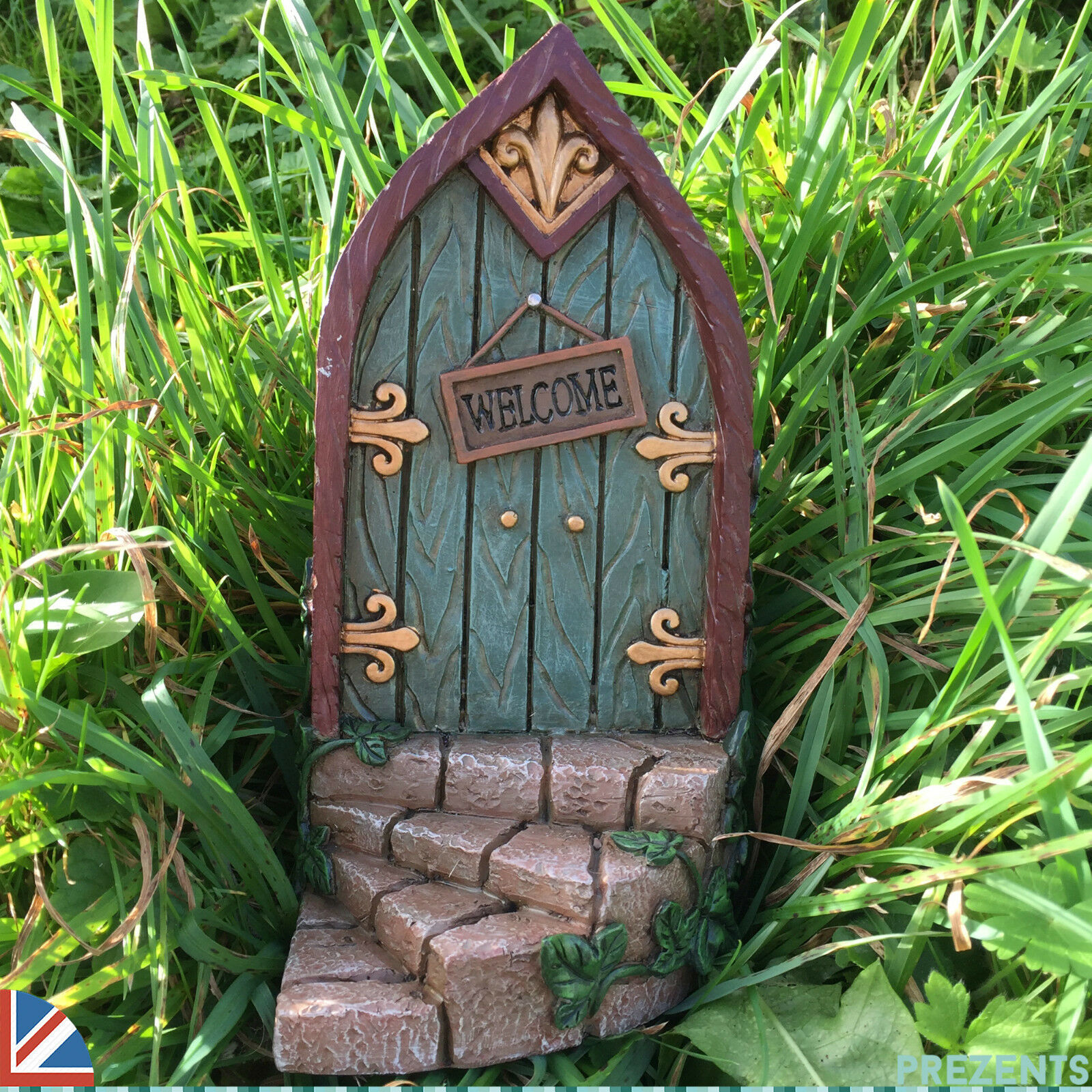 Large fairy door elf pixie steps wooden stone magical for Outdoor fairy door