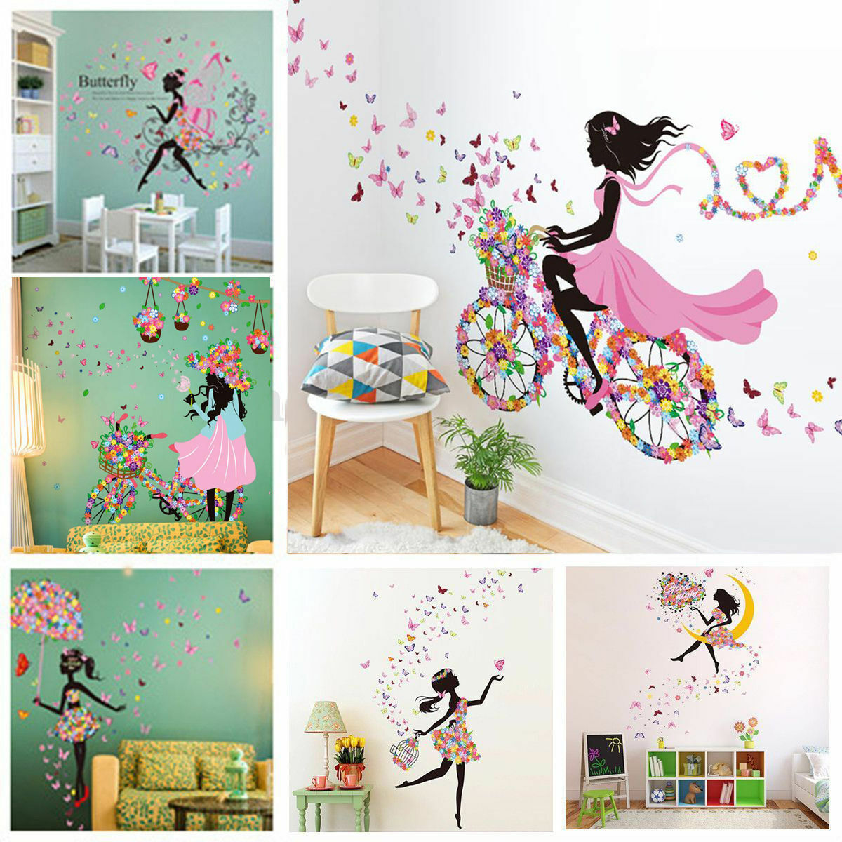m dchen schmetterling wandaufkleber wandsticker wandtattoo kinderzimmer dekor eur 3 46. Black Bedroom Furniture Sets. Home Design Ideas
