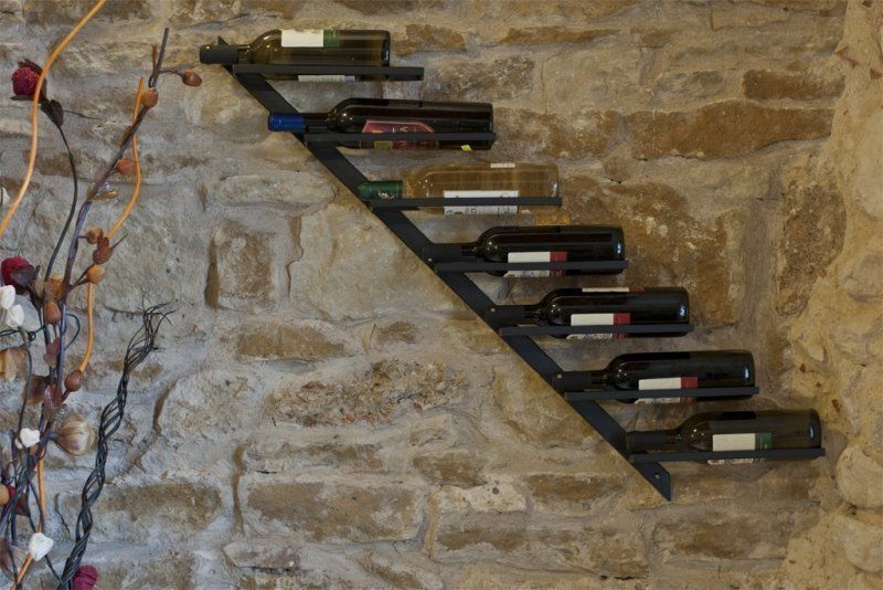 "Wrought Iron Wine rack ""Diagonal"" WALL DISPLAY BOTTLE HOLDER"