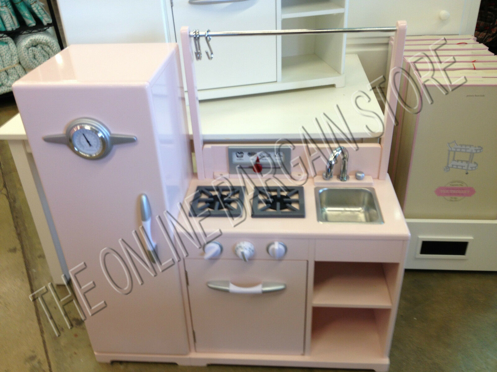 Pottery Barn Kids Pink All In One Retro Play Pretend Kitchen Set Stove Fridge 1 Of 9