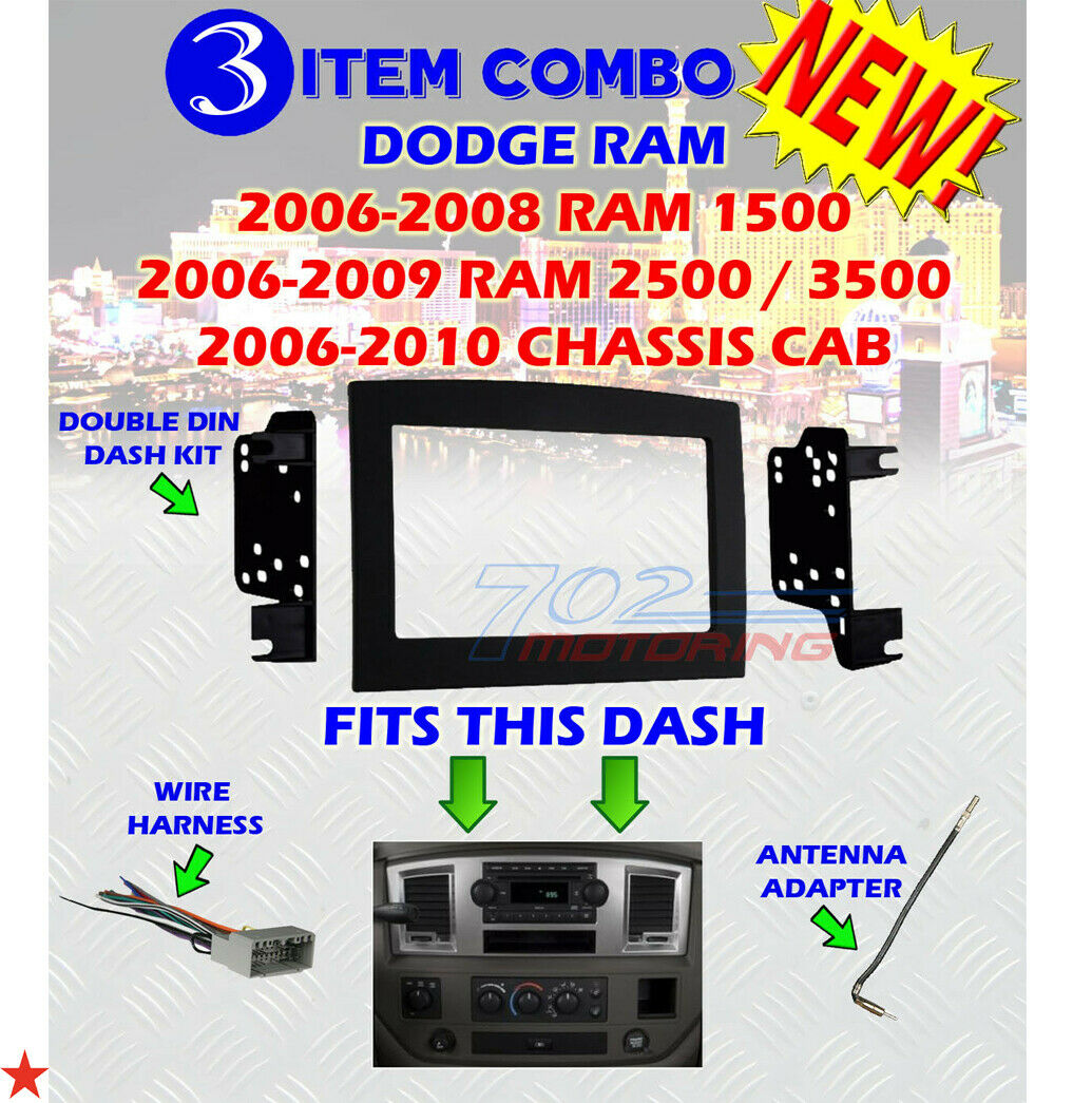 Silver Double Din Dash Install Kit W Wiring Harness Radio Stereo Dodge Ram 2500 Fits Custom