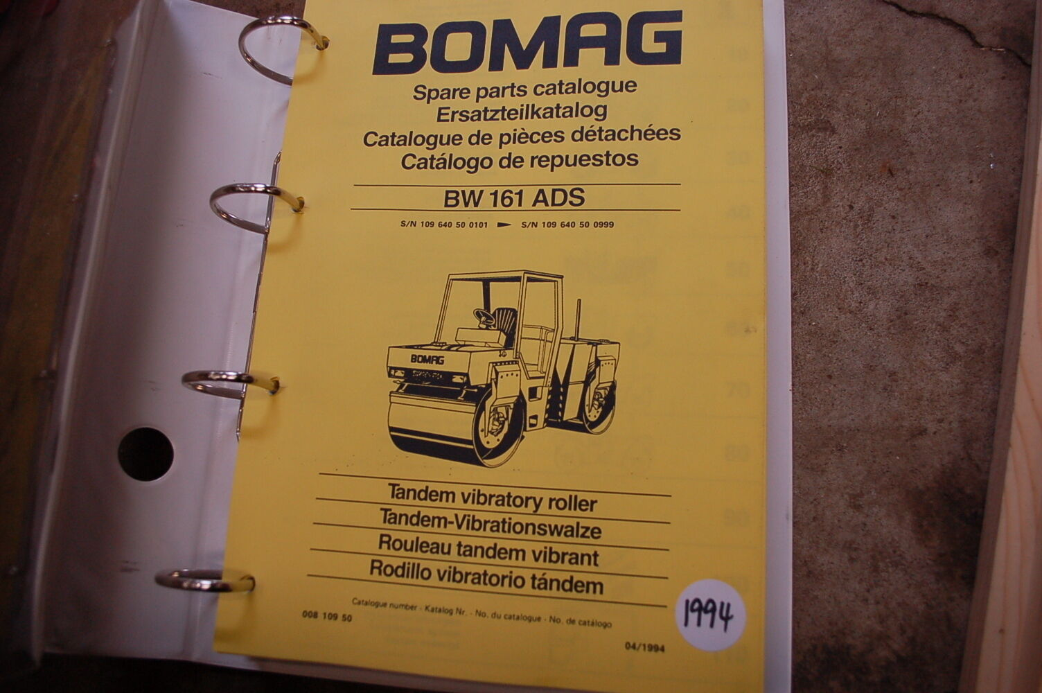 BOMAG BW 161 ADS Roller Compactor Parts Manual book catalog spare list  index 1 of 4Only 1 available ...