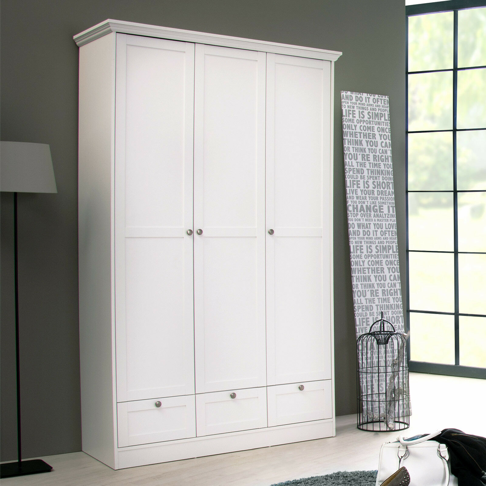 kleiderschrank landwood 18 dreht renschrank schrank in wei 120 cm landhaus eur 245 95. Black Bedroom Furniture Sets. Home Design Ideas