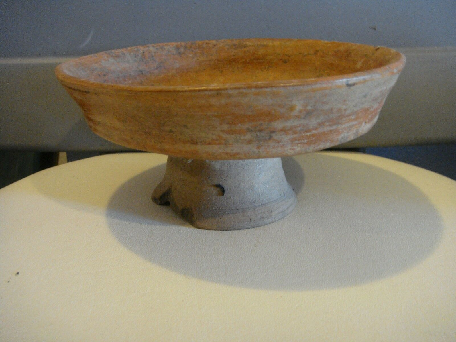 """Pre Columbian Authentic 1,000+ Year Old Mayan Pedestal Bowl  Pottery  7.5""""x3.5"""""""