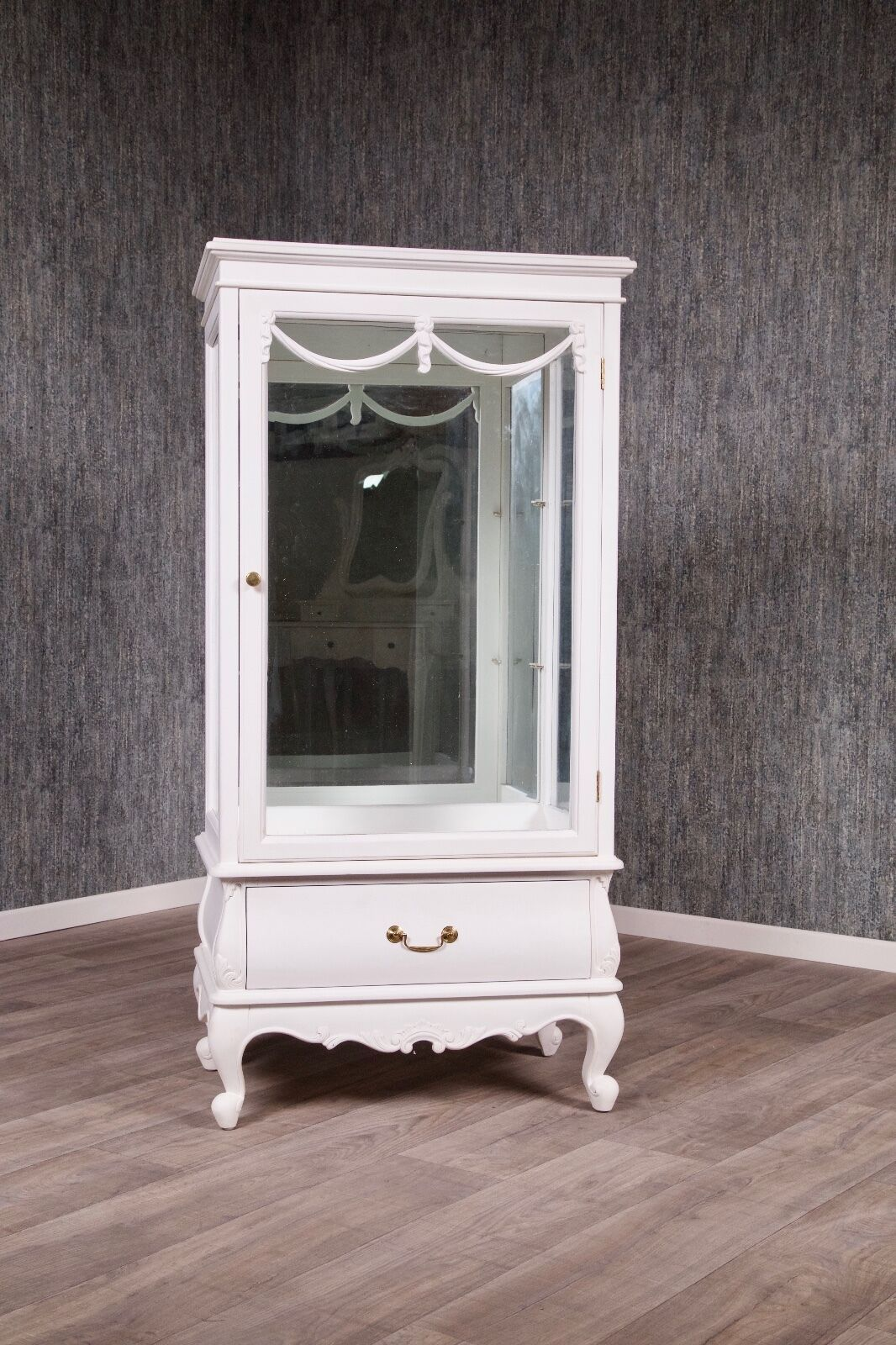 barock vitrine mahagoni massivholz louis xv wei schrank kommode eur picclick de. Black Bedroom Furniture Sets. Home Design Ideas
