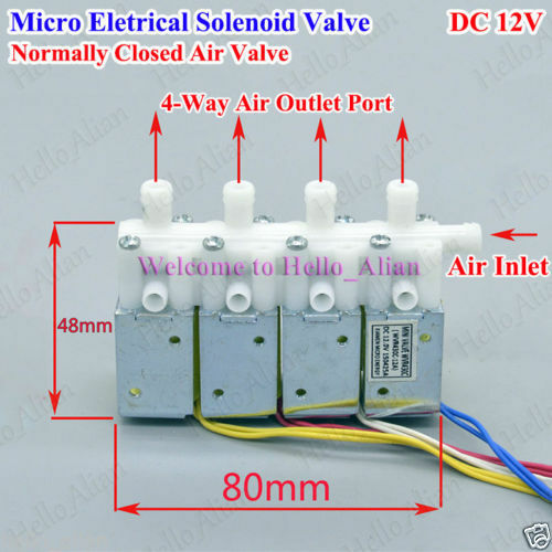 DC 12V 4-Way Mini Pneumatic Electric Solenoid Magnet Discharge Air ...
