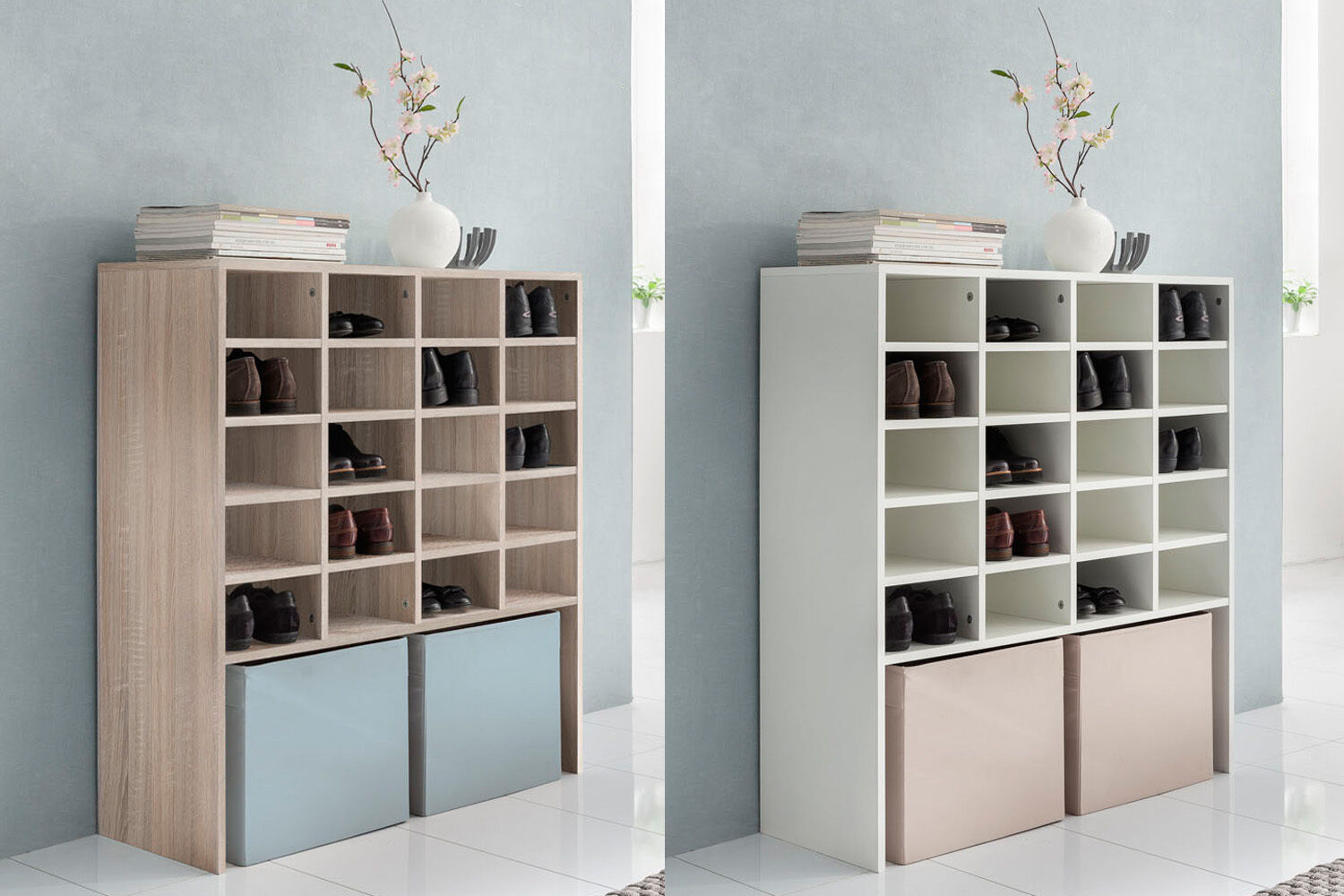 schuhregal schuhschrank regal schrank mit 20 f cher sonoma eiche wei eur 119 99 picclick de. Black Bedroom Furniture Sets. Home Design Ideas