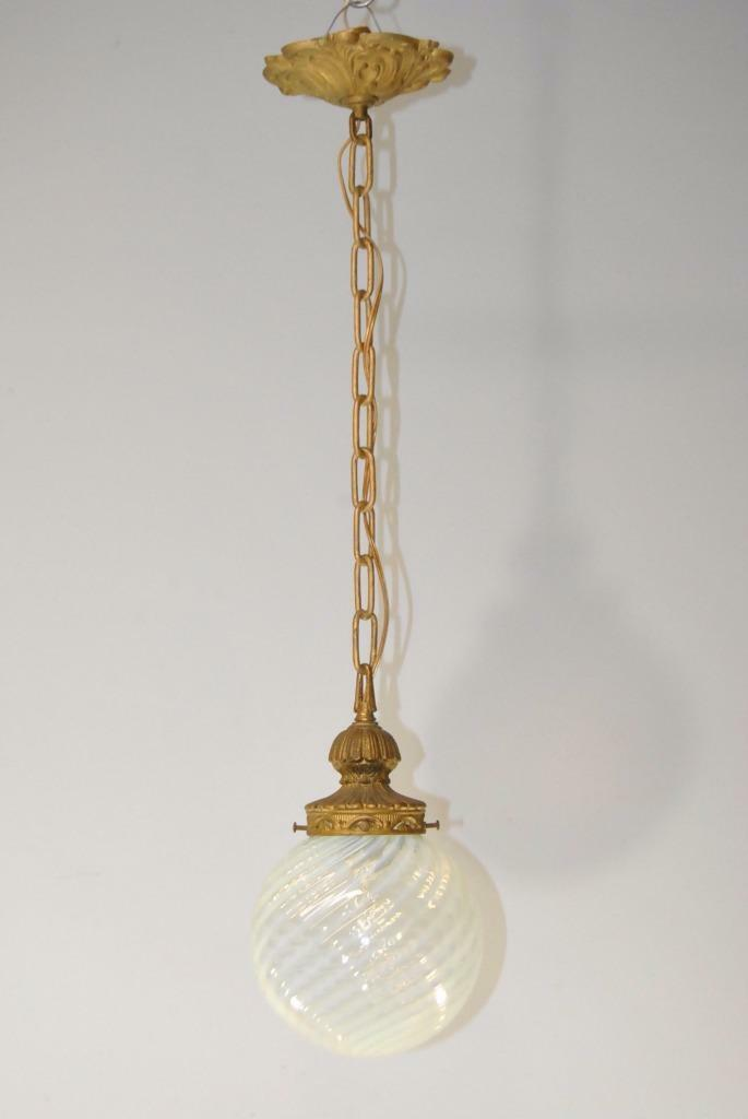 Antique French Style Single Socket Chandelier with Opalescent Glass Globe