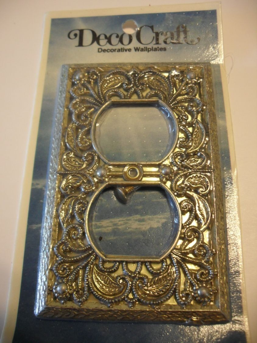 Vintage NOS Antique BRASS Plated OUTLET Wall Cover Plate Scrolled Design Ornate
