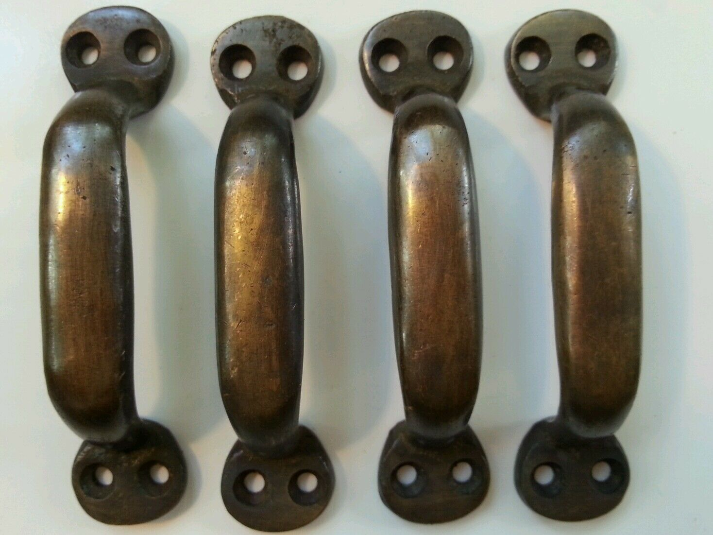 """4 Solid brasss antique strong file cabinet trunk handles 3 7/8"""" wide #P2"""