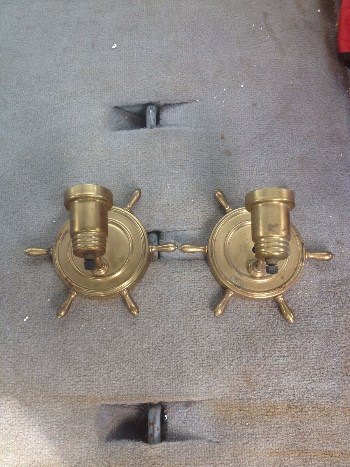 "1940's Pr 8"" Brass Ships Wheel Sconces"