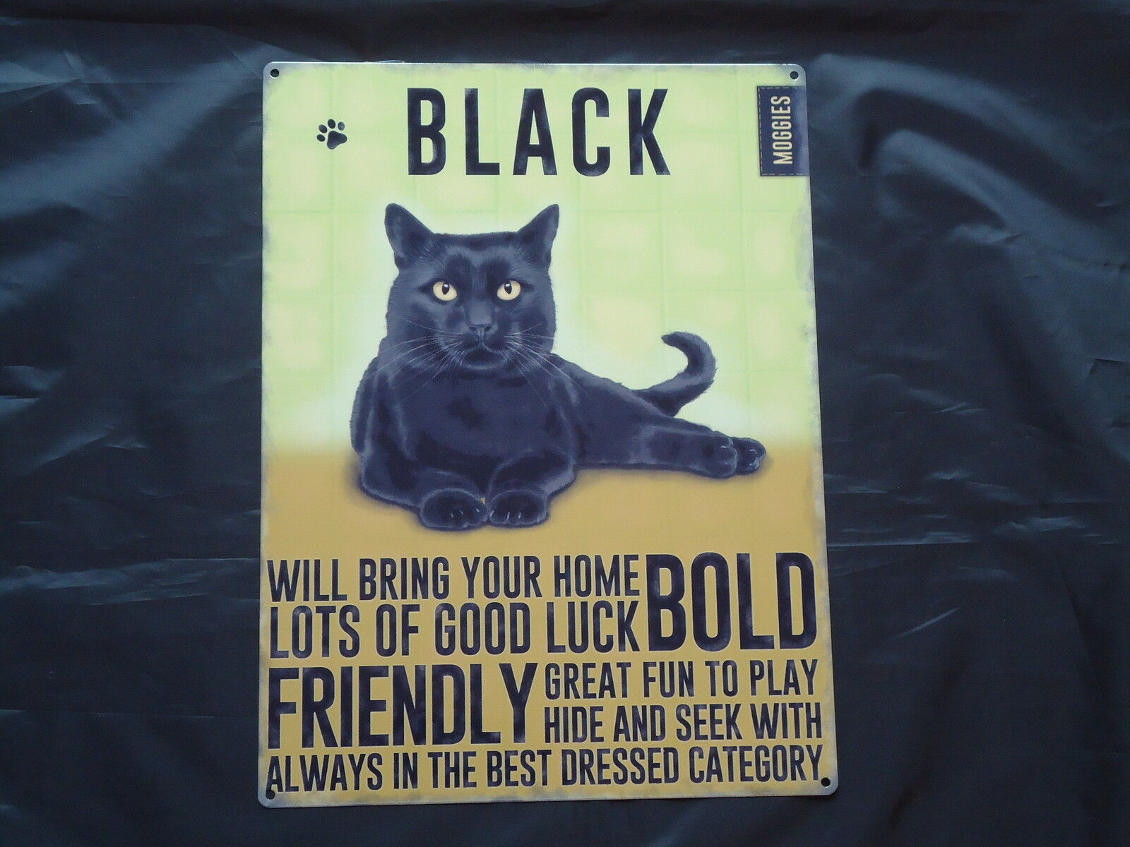 Black Cat Large Plaque Metal Sign Wall Art Home Decor
