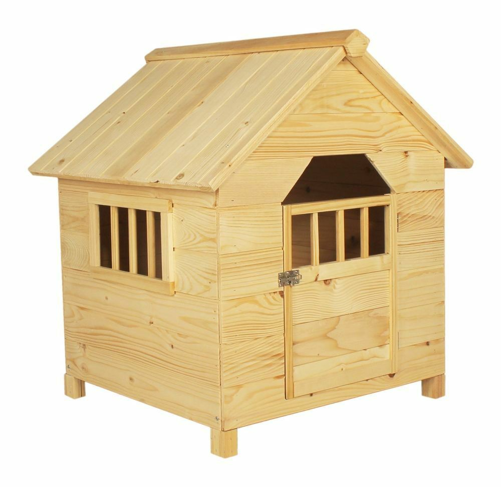 Dog Houses And Shelters : Light wood wooden outdoor pet dog house kennel home garden