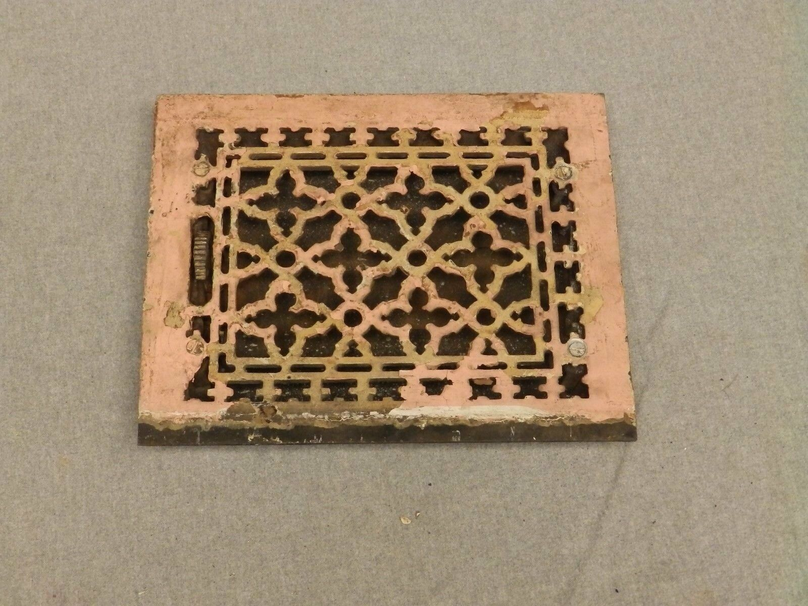 Antique Gothic Cast Iron Heat Grate Register Vent Old Vintage Hardware 630-16