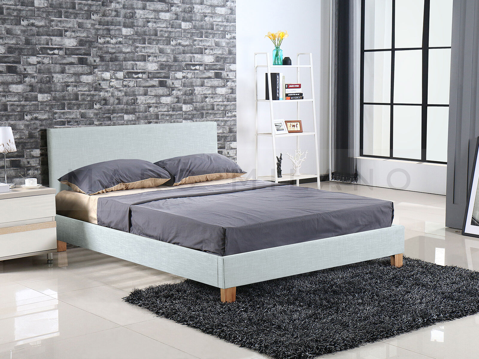 Luxury Pu Leather Queen Size Bed Frame White