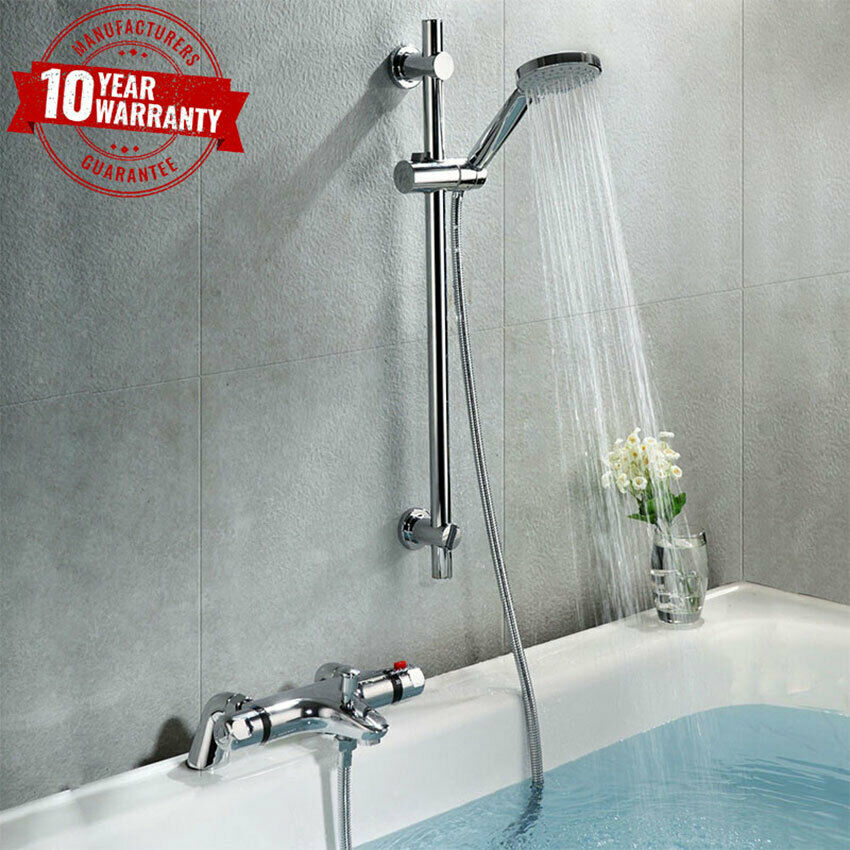 chrome thermostatic bathroom bath shower mixer tap with. Black Bedroom Furniture Sets. Home Design Ideas