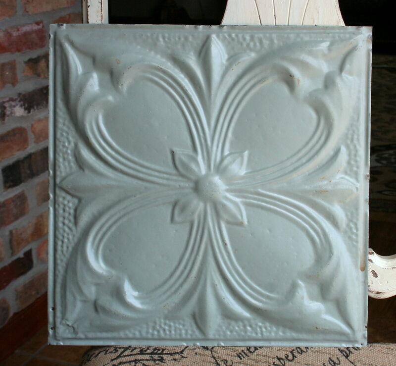 """12"""" Antique Tin Ceiling Tile -- Gray Colored Paint -- Abstract Flower Design"""