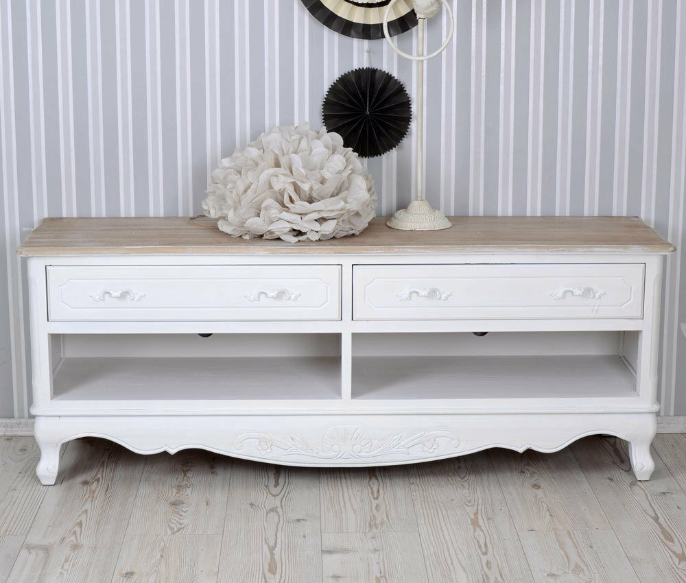 fernsehtisch shabby weiss tv m bel sideboard landhausstil tv schrank vintage eur 229 00. Black Bedroom Furniture Sets. Home Design Ideas