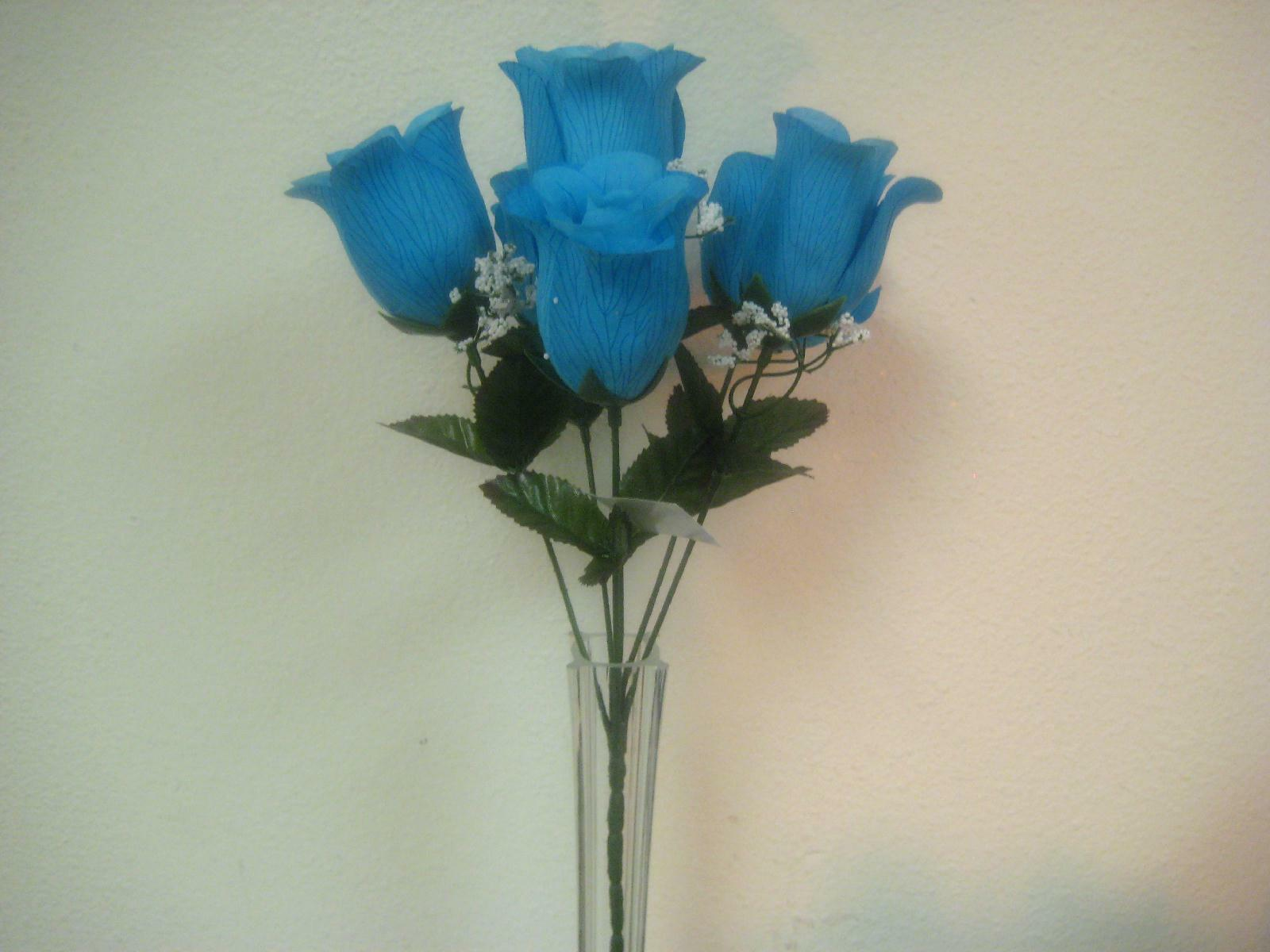 3 bushes turquoise rose buds artificial silk flowers 13 bouquet 6 1 of 3 see more mightylinksfo