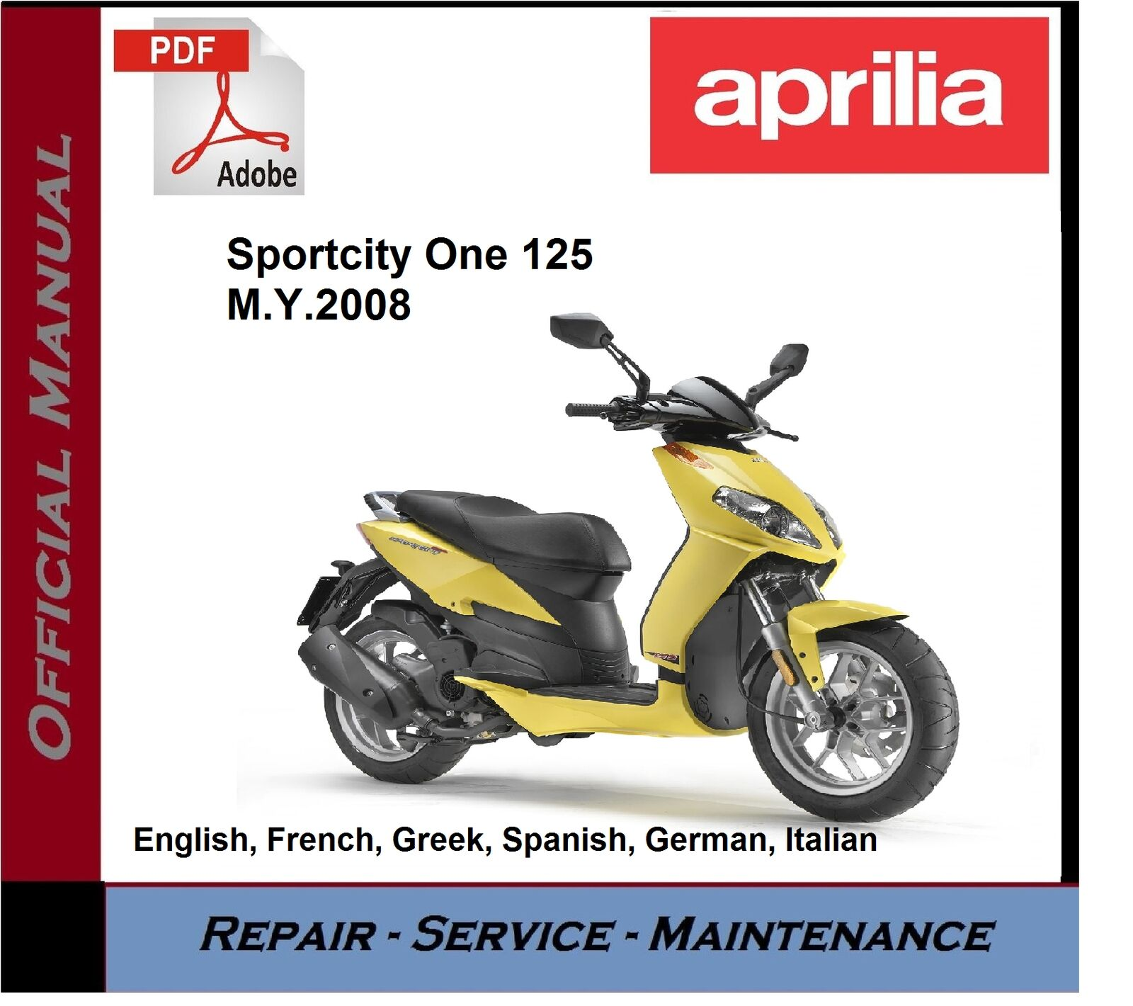 Aprilia Sportcity One 125 2008 onwards Workshop Service Repair Manual 1 of  1FREE Shipping ...
