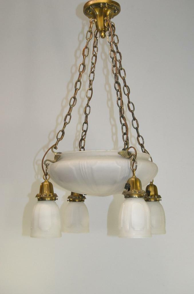 Antique Brass And 6 Light Frosted White Glass Chandelier W/ 4 Glass Shades