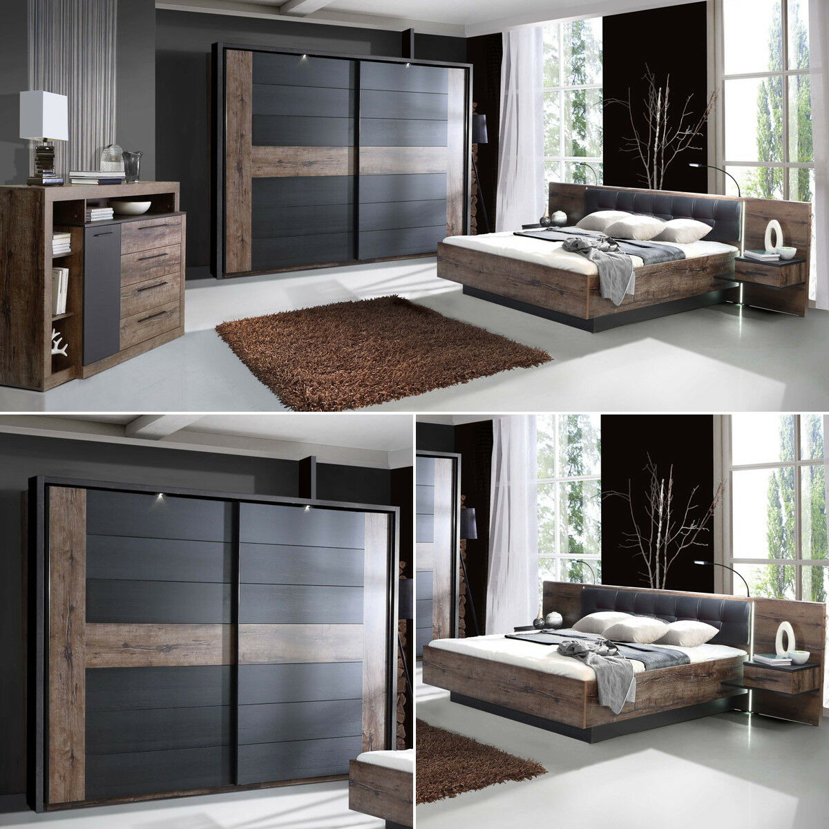 schlafzimmer bellevue bett 180x200 nachttische schwebet renschrank sideboard eur 999 95. Black Bedroom Furniture Sets. Home Design Ideas