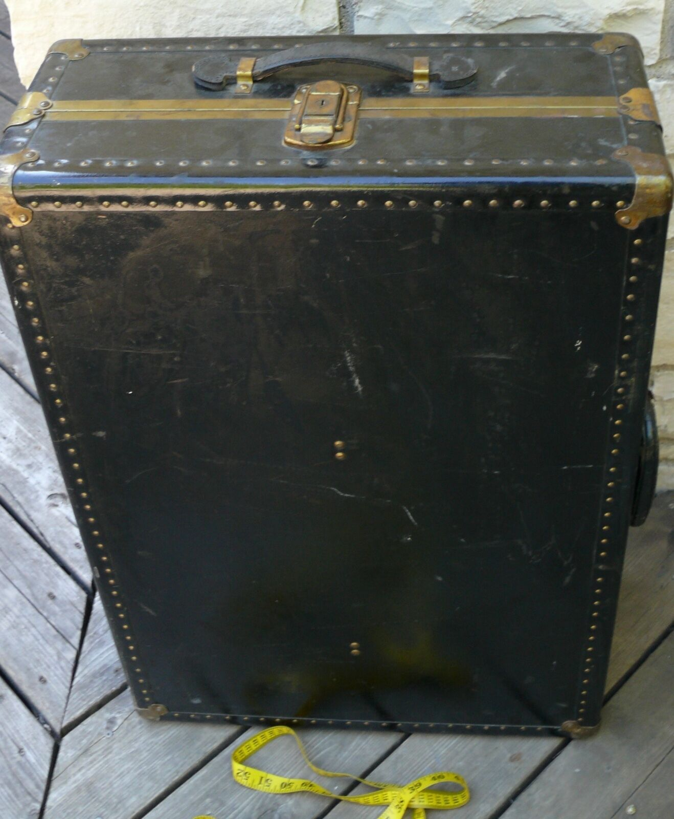 Rare Us Trunk Company Antique Brass & Wood Small Railroad Steamer Trunk