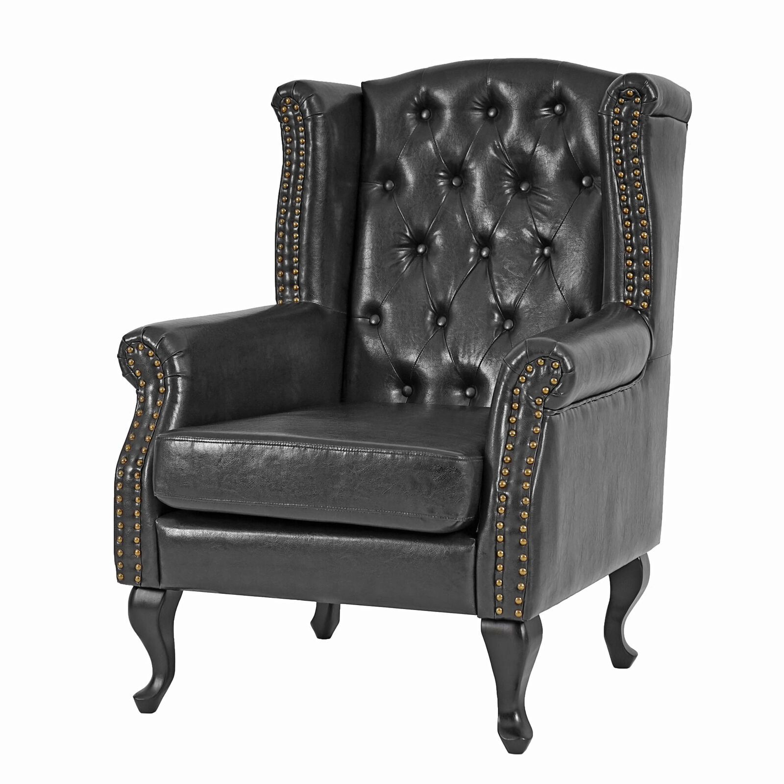 sessel clubsessel chesterfield oxford kunstleder schwarz ohne ottomane eur 189 99 picclick it. Black Bedroom Furniture Sets. Home Design Ideas