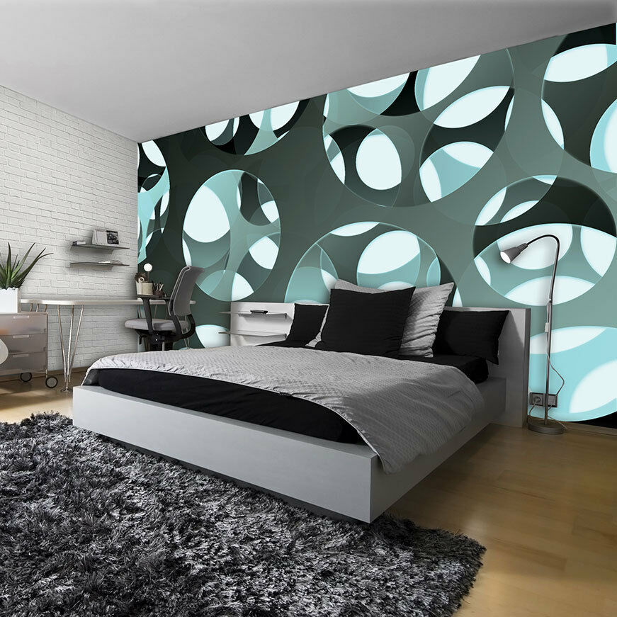 vlies tapete fototapete wandbild gr n wand weiss 3d geometrie kunst foto 3034 ve eur 1 00. Black Bedroom Furniture Sets. Home Design Ideas