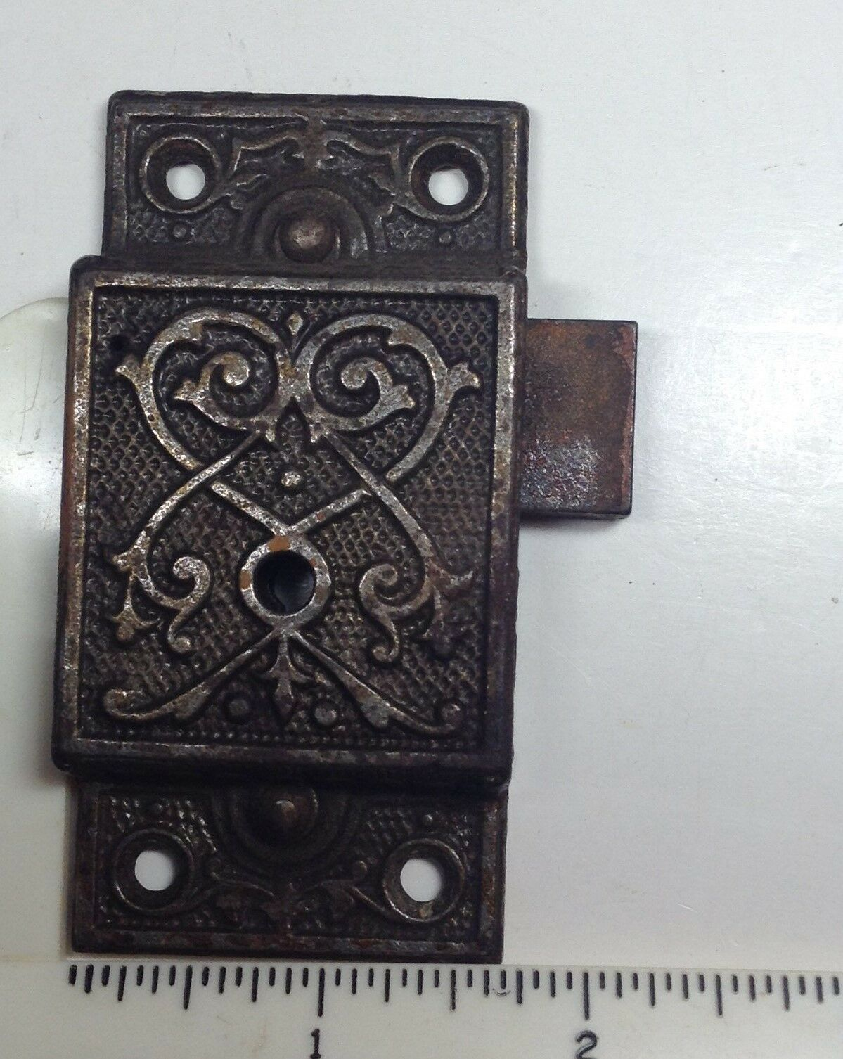 Antique eastlake cabinet cupboard latch lock W/ key