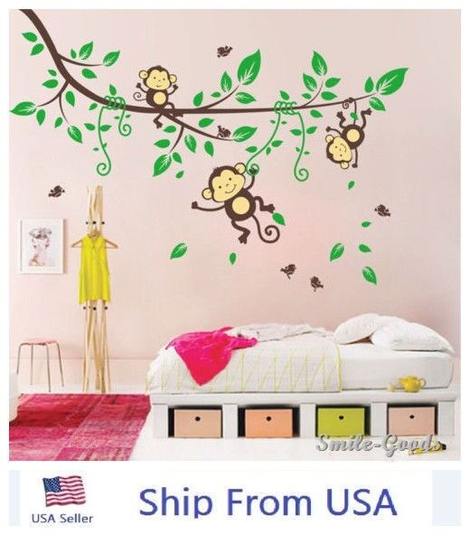 Jungle Monkey Tree Wall Stickers Kids Nursery Decal Removable Art Decor Decals 1 Of 7free Shipping