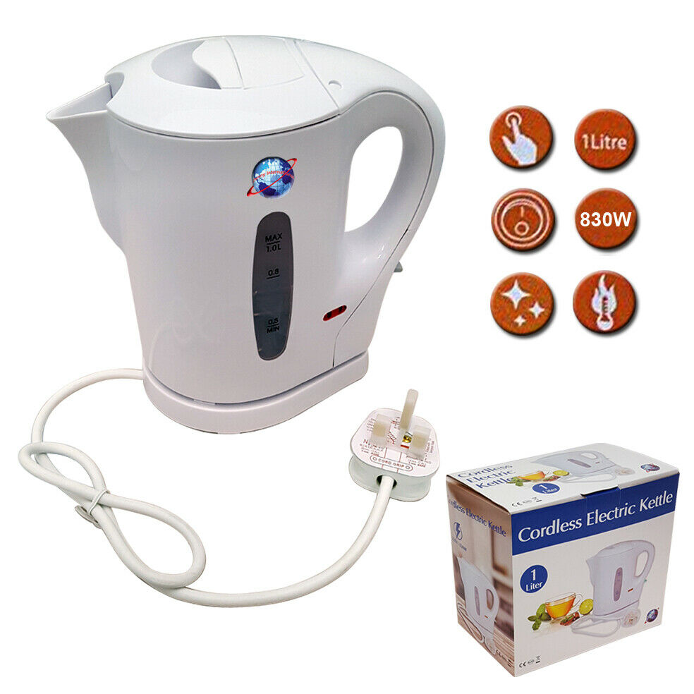 900w Electric White 1 Ltr Kitchen Cordless Kettle Caravan