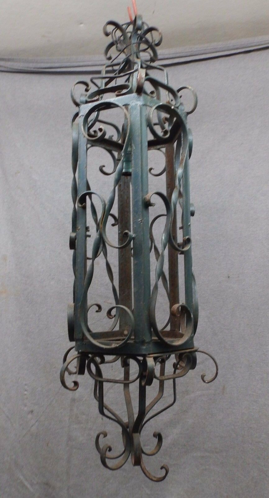 Large 1950s Wrought Iron Pendant Light Fixture Vtg Mid Century Garden 1282-16