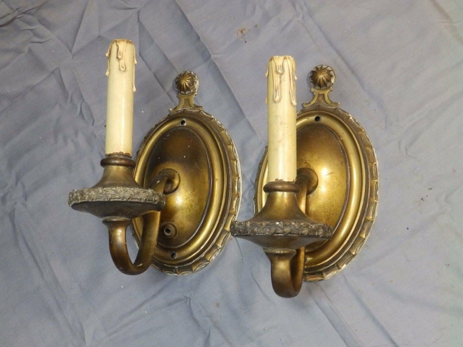 Antique Cast Gothic Victorian Sconce Pair Interior Wall Light Fixtures 1443-16
