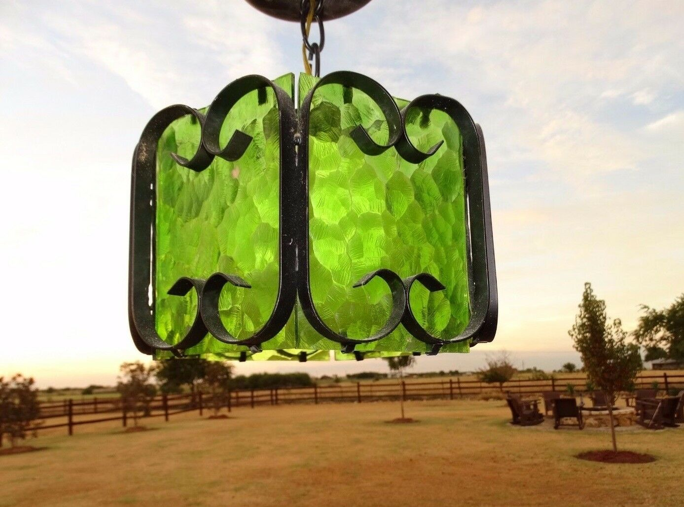 15065 Vintage Hanging Metal Wrought Iron Lamp Light / Green Glass Spanish Gothic