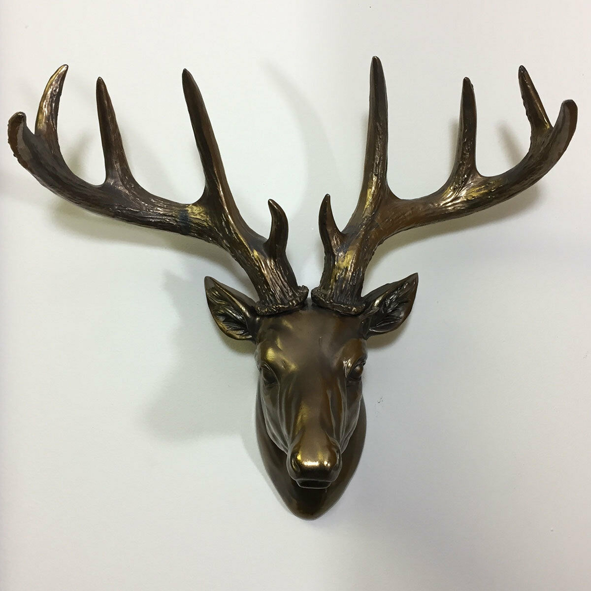 Large Deer Stag Head Wall Statue Hanging Ornament Bronze