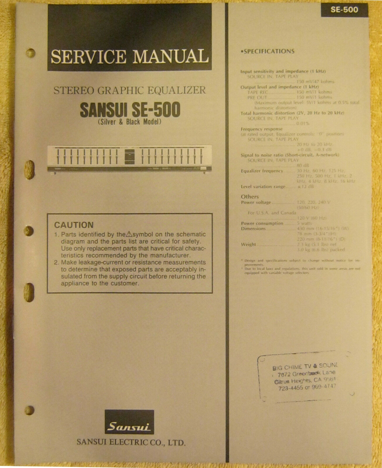 Sansui Se 500 Stereo Graphic Equalizer Service Manual Vtg Repair 5 Band Equaliser Circuit Diagram Information 1 Of 1only Available See More