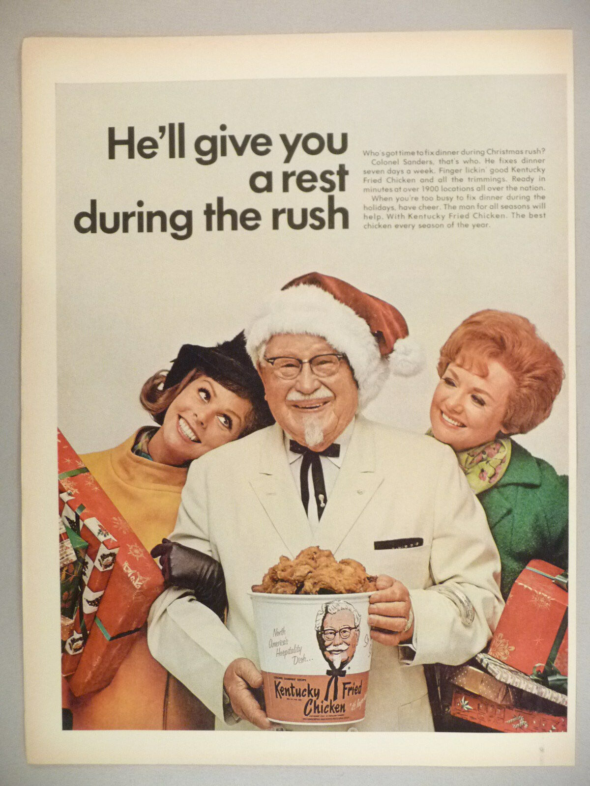 KENTUCKY FRIED CHICKEN KFC Restaurant PRINT AD - 1968 ~~ Colonel ...
